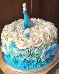 Simple rose swirl Frozen Elsa blue single tier birthday cake made for a friends daughter