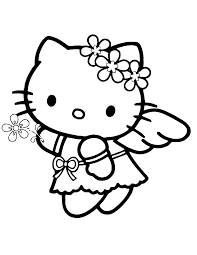 Angel Hello Kitty Coloring Page