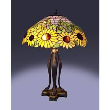 Home Depot Tiffany Lamp by Warehouse Of Tiffany 25 In Floral Birds Multicolored Brown Table