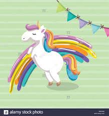 Cute Unicorn With Rainbow Kawaii Character Birthday Card
