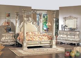 Antique White Queen Poster Canopy Bed Victorian Inspired Bedroom