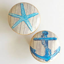 Real Seashell Cabinet Knobs by Nautical Knob Drawer Pulls Blue Starfish Or Anchor Cabinet Pull