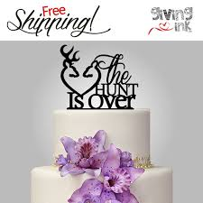 The Hunt Is Over Hunting Wedding Cake Toppers Buck And Doe Heart