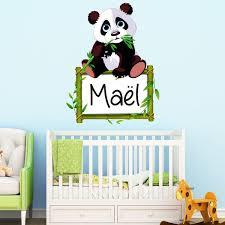 stickers panda chambre bébé sticker prénom personnalisable panda et bambou stickers
