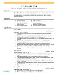 Security Guard Resume Example Information Assurance Template For Entry