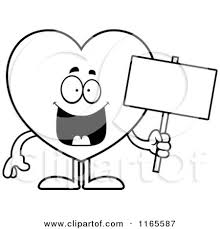 Cartoon Clipart Of A Happy Heart Card Suit Mascot Holding Sign