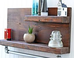 Shelf Rustic Wood And Metal Wall Bathroom Appealing Towel Bars For Kitchen X Shelves Ideas Decorative Bookshelves Home Hanging Wooden Floating