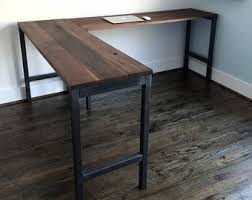 Reclaimed Wood Desk Top Office Furniture Modern Custom Standing Standing Desk Desk Industrial Desk Reclaimed Wood
