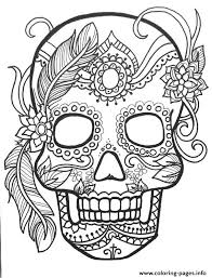 Sugar Skull Adult Flower Coloring Pages Print Download 527 Prints