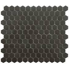 gotham hex black unglazed porcelain tile bathroom reno