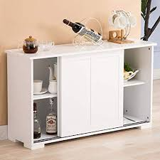 Mecor Sideboards Storage Cabinet White Kitchen Buffet Server Table 2 Sliding Doors 1