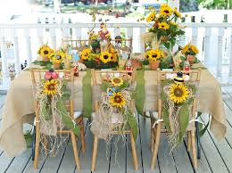 Rustic Burlap Wedding Decorations With Sunflowers In Small Ceramic Pots On Long Table Also Wooden