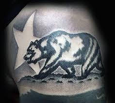 Shaded Negative Space Star California Bear Mens Upper Arm Tattoos
