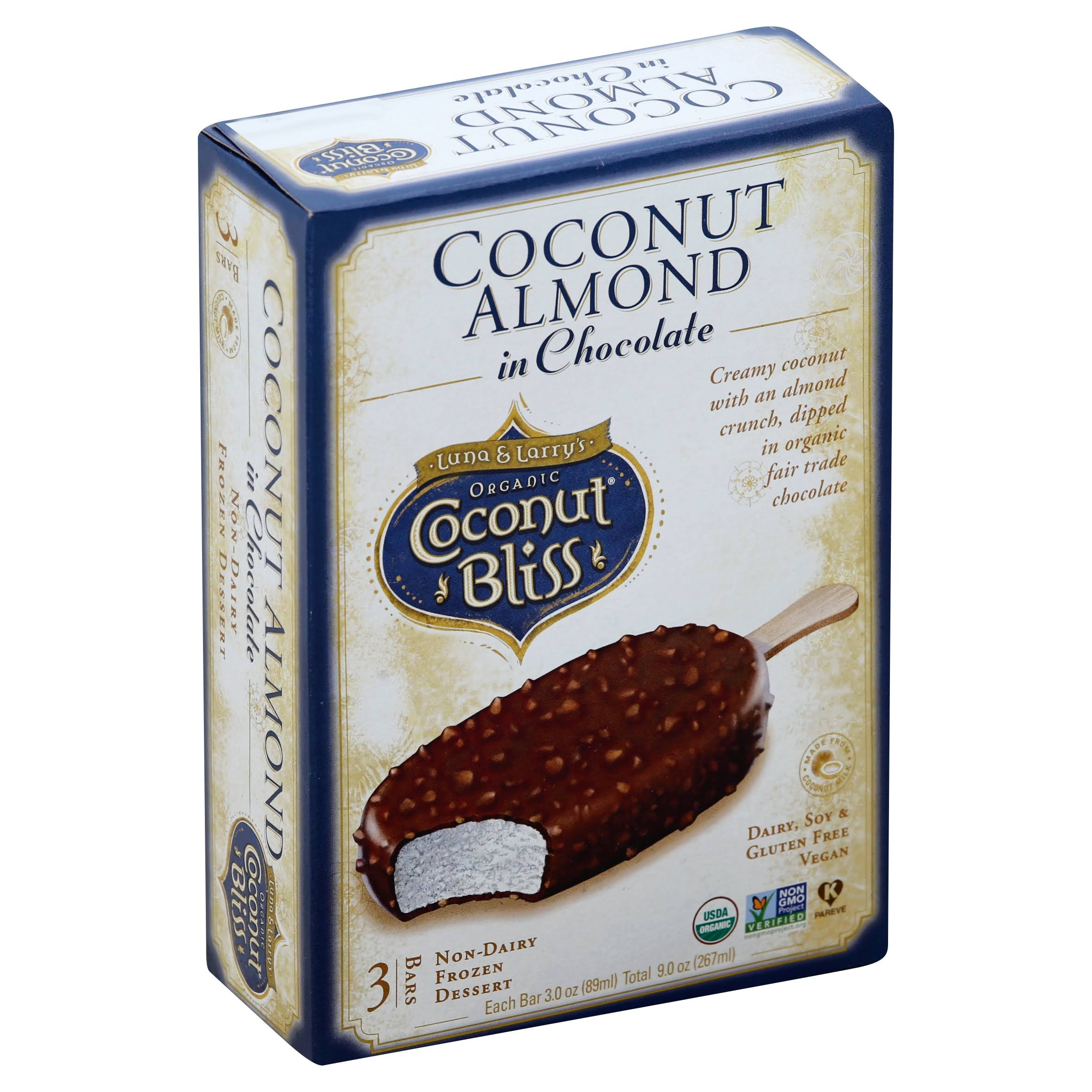 Luna & Larrys Organic Coconut Bliss Frozen Dessert Bars, Non-Dairy, Coconut Almond in Chocolate - 3 pack, 3 oz bars