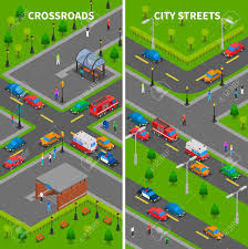 100 Trucks And Cars Street Traffic Isometric Vertical Banners Set With Crossroads