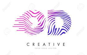 OD Zebra Letter Logo Design With Black And White Stripes Vector