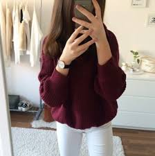 Sweater Red Burgundy Winter Outfits Tumblr Outfit Clothes Weather Casual