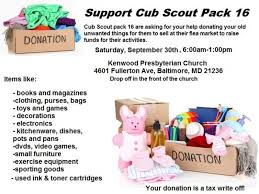 sep 30 donation drive to benefit cub scout pack 16 parkville