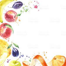 Watercolor hand drawn fruits Eco food background royalty free watercolor hand drawn fruits eco