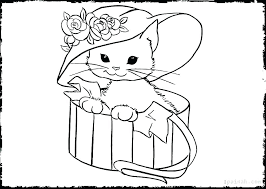 Christmas Kitten Coloring Pages Three Little Kittens Page Puppy And Free