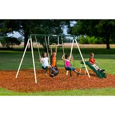 Patio Swing Sets Walmart by Flexible Flyer Lawn Swing Frame White Walmart Com