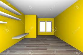 gelb leer wohnzimmer dekorieren weißen regalen mit holzfußboden