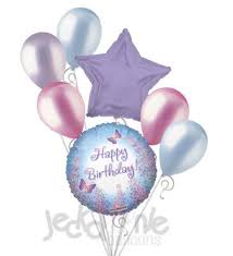 Lavender Flowers & Butterflies Happy Birthday Balloon Bouquet