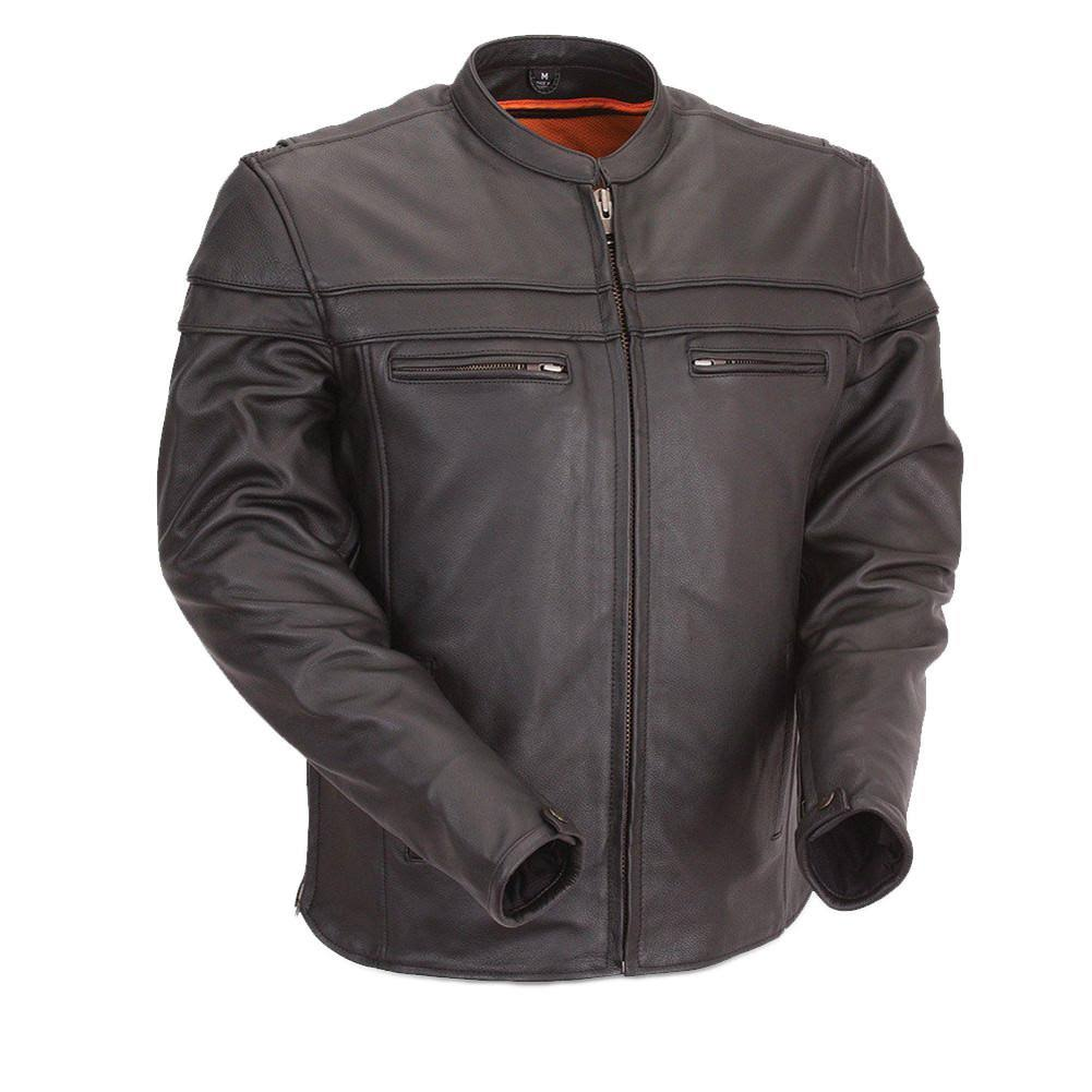 First Manufacturing Men's Maverick Motorcycle Jacket - Black, Large
