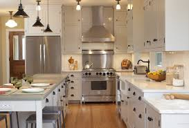 Exposed Range Hood Kitchen Traditional With Marble Countertop Industrial Pendant Stone