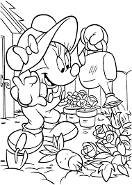 Minnie Mouse Working In The Garden Coloring Pages