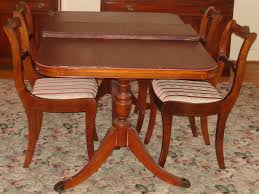 Duncan Phyfe Mahogany Dining Room Set Double Pedestal Table 4 Impressive Chairs