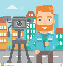 Download TV Reporter Working Stock Vector Illustration Of News