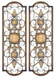 Tuscan Wrought Iron Wall Art Large Rectangular Grille Plaque Traditional Metal