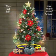 3 Ft Tall Fiber Optic Rotating Poinsettia Tabletop Christmas Tree