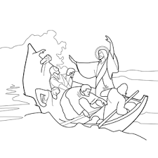 Jesus Calming The Storm At Sea Coloring Page
