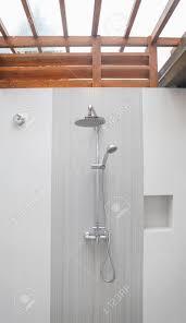 shower in modern hotel bathroom