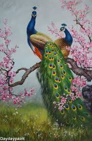 Hand Painted Art Oil Painting Peacock Canvas Decor Wall Frame In From Dealers Resellers Paintings