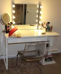rectangle white wooden makeup table with rectangle mirror and ten