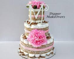 Rustic Burlap Lace Diaper Cake