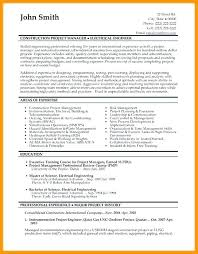 Project Management Resume Objective Samples Construction Manager Resumes Templates Career