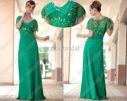 green sheath prom dress v neck short sleeve beaded lace full