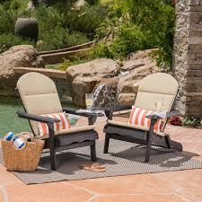 Noble House Malibu Dark Gray Folding Wood Adirondack Chairs With Khaki  Cushions (2-Pack)