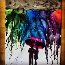 Melted Crayon Art With Silhouette Couple Under A Red Umbrella