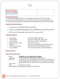 Professional Curriculum Vitae Resume Template For All Job Seekers Sample Of Latest Best Fresher Two Page B Tech