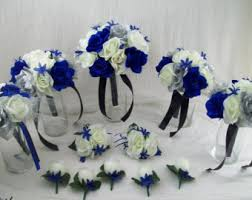 Royal Blue Horizon BlackSilver And Ivory Bridal Bouquets Silk Rose Wedding Package