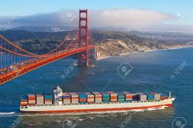100 Shipping Containers San Francisco Full Container Cargo Ship Leaving Bay Under The