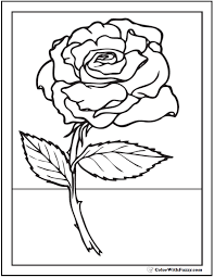 Beautiful Rose Coloring Sheet For Kids