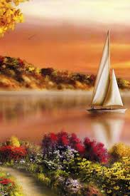 Beautiful Flowers And Lake Painting Iphone 4 Wallpapers Free New Hd