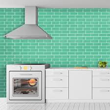 walplus mintgrüne glänzende 3d aufkleber fliese selbstklebende fliesen aufkleber fliesen küche klebefliesen küche 30 x 30 cm 6 stk