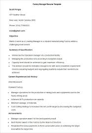 Sample Factory Manager Resume Template